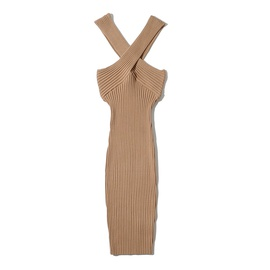 Elastic Cross Halter Tight Sling Bag Hip Knit Dress  NSHS53251