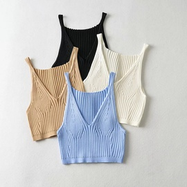 V-neck Summer New Fashion Solid Color Sexy Slim Short Knitted Vest NSHS53256