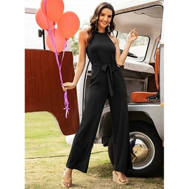 Sleeveless Solid Color Straight Lace-up Jumpsuit NSMAN53260