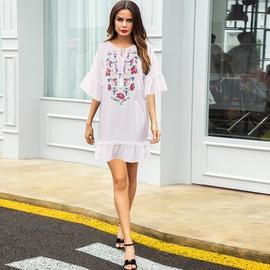 Round Neck Lace-up Fashion Loose Printed Short Dress NSMAN53264