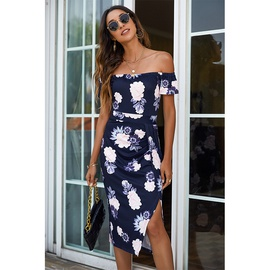 Fashion Printed Breast Wrap Strapless Short-sleeved Split Dress NSMAN53267