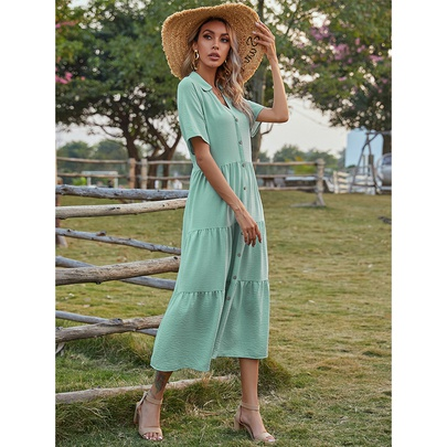 Short-sleeved Single Breasted Pure Color Long Shirt Dress NSMAN53268