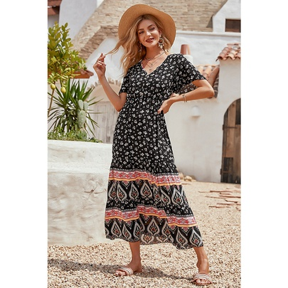Fashion Cotton Printed V-neck Short-sleeved Long Dress NSMAN53269