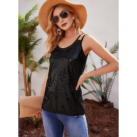 New Fashion Pure Color Sequin Pullover Sling Top NSMAN53270