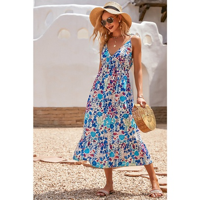 Low-cut Temperament High-waist Printed Sling Long Dress NSMAN53276