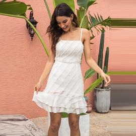 Diagonal Stripe Stitching Feather Double Layer Ruffled Hem Suspender Dress NSMAN53282