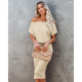 Solid Color Strapless High Waist Short Sleeve Hip Dress NSMAN53283