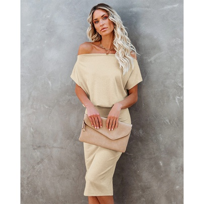 Solid Color Strapless High Waist Short Sleeve Hip Dress NSMAN53283
