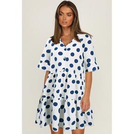 Fashion Casual V-neck Buckle Decor Polka-dot Short-sleeved Dress NSMAN53288