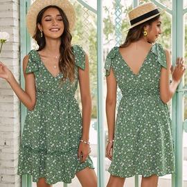 High Waist Sling Bow Lace-up V-neck Floral Short Dress NSMAN53290