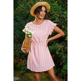 Fashio Short-sleeved Ruffled Striped Round Neck Loose Dress  NSMAN53292