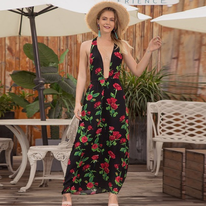V-neck Low-cut Printed Sling Halter Chiffon Long Dress NSMAN53296