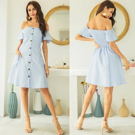 Sexy One-line Collar Single-breasted Pleated Solid Color Backless Short-sleeved Dress  NSMAN53298
