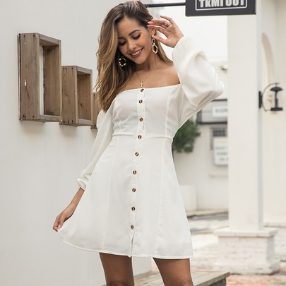 Long-sleeved Off-shoulder Solid Color Wrapped Chest Single-breasted Short Dress NSMAN53301
