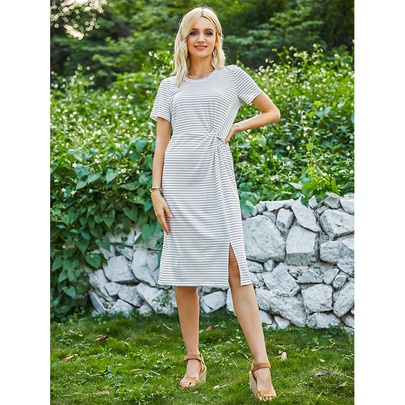 Casual Round Neck Short-sleeved Striped Knitted Dress NSMAN53302
