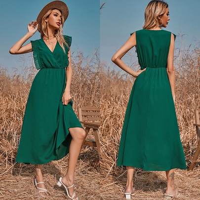 Solid Color V-neck Low-cut Sleeveless Elastic Waist Long Dress NSMAN53305