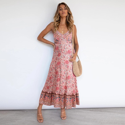 Sexy Casual Bohemian Sling Halter Floral Long Dress NSMAN53313