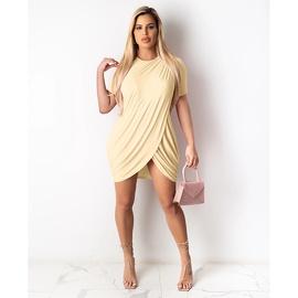 Pure Color Round Neck Short-sleeved Bag Hip Knitted Dress NSMAN53315