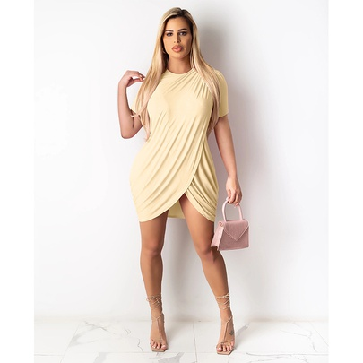Pure Color Round Neck Short-sleeved Bag Hip Knitted Dress NSMAN53315