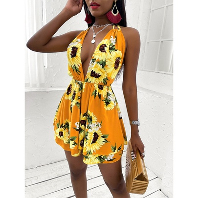 Sunflower Printed V-neck Open Back Hanging Neck Lace-up Casual Dress NSMAN53316