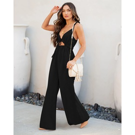 Casual Solid Color Sleeveless Wide-leg Sjumpsuit  NSMAN53322