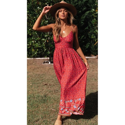Bohemian V-neck Low-cut Rayon Sling Floral Long Dress NSMAN53326