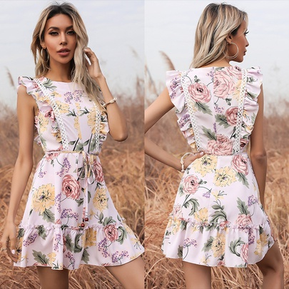 Fashion Printed Round Neck Lace Flying Sleeve A-line Dress  NSYMR53340
