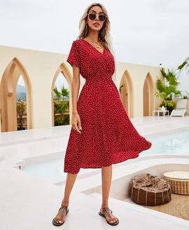 V-neck Polka Dot Short Sleeve Elastic High Waist Dress NSCX53365