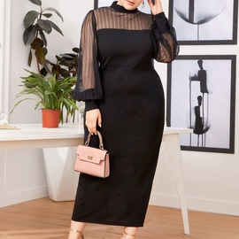 Plus Size Mesh Stitching Half-high Collar See-through Bag Hip Long Dress NSCX53368