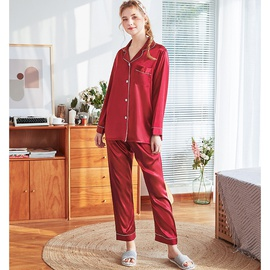 Silk Plain Color Seam Pajama Set NSJO53374