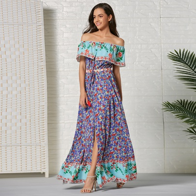 Bohemian Off-shoulder Ruffle Print Long Dress  NSSE53380
