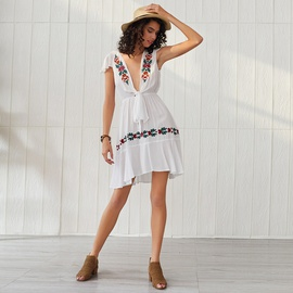 Bohemian Embroidered V-neck Knoted Holiday Short Sleeve Dress NSSE53382