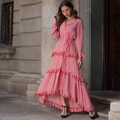 Bohemian Long-sleeved Thousand Lattice Big Swing Long Dress  NSSE53383