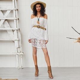 Bohemian Lace Splicing Long-sleeved Off-shoulder Tassel Dress  NSSE53385