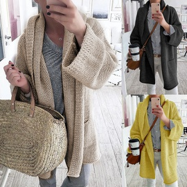 New Fashion Fall/winter Solid Color Casual Mid-length Sweater Coat NSLK53442