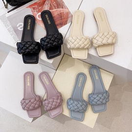 Fashio Woven Leather Strap Slide Sandals NSPE53477