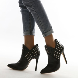 New Style Pointed Toe Rivets V-mouth High-heeled Short Boots NSSO53481