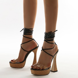Leg Tie Thick Wooden Heeled Sandals NSSO53486