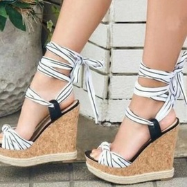 Fashion Strip Leg Tie Wedge Sandals NSSO53491