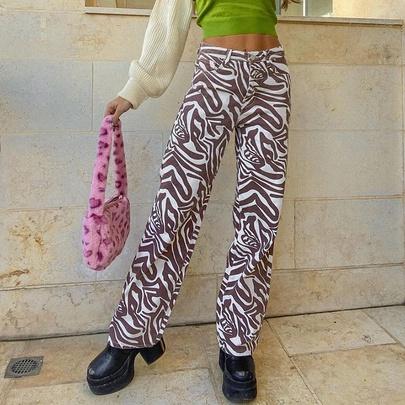 Cotton Contrast Color Casual Water Ripple Straight Slim Trousers NSKAJ53523