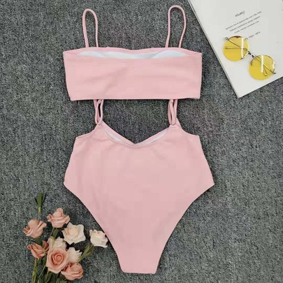 Lotus Strap Solid Color High Waist Bikini Swimsuit NSLUT53702