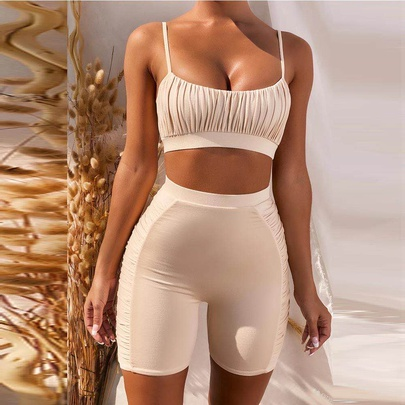 Solid Color Ruched High Waist Split Bikini Swimsuit NSLUT53954