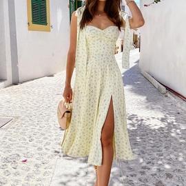 Fashion V-neck Sling Lace-up Halter Floral Split Base Dress  NSHHF53621