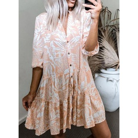 Fashion V-neck Five-point Sleeves Thin Single-breasted Printed Dress NSHHF53622