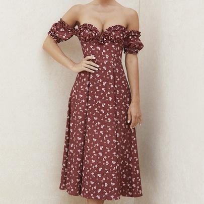 Temperament Split Floral Strapless Tube Top Thin Long Dress NSHHF53626
