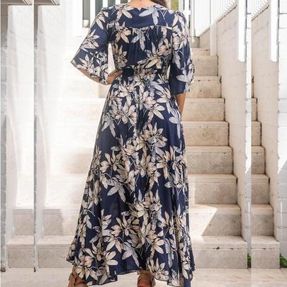 V-neck Classic Short-sleeved Printed Long Dress NSHHF53630