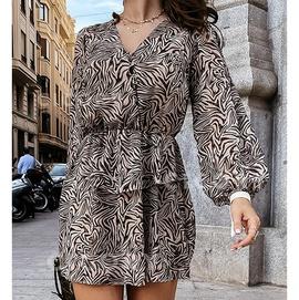 Loose V-neck Zebra Print Long Sleeve Cake Dress NSHHF53634