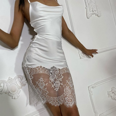 Solid Color Sexy Lace Stitching Cross Strapped Halter Dress NSHHF53635