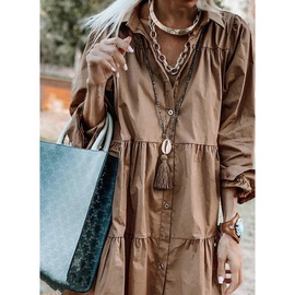 Casual Loose Solid Color Long-sleeved Button Shirt Dress NSHHF53639