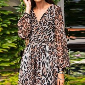 Chiffon Temperament Sunscreen Leopard Print Beach Split Long Dress   NSHHF53644